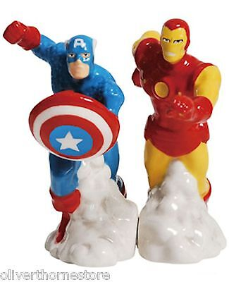 Captain America & Iron Man Salt and Pepper Shakers 22963 Marvel Comics S & P Set
