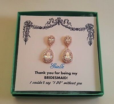 Bridesmaid Rose Gold Plated CZ Pierced Earrings/Wedding Party Earrings
