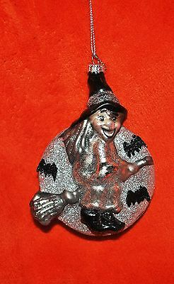 NEW HALLOWEEN GLASS Blown Ornament  HAPPY WITCH Broom Bat Silver Glitter