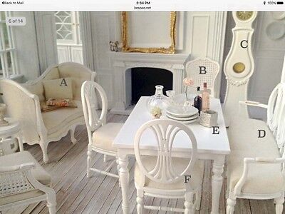 "DOLLHOUSE MINIATURE ""Dianna"" Gustavian Chair by Maritza for Bespaq WHITE FINISH"