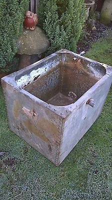 Vintage Galvanised Riveted Water Tank ~ Garden Feature Planter ~ Antique