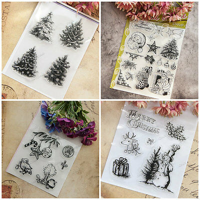 DIY Christmas Transparent Silicone Clear Rubber Stamp Sheet Cling Scrapbooking