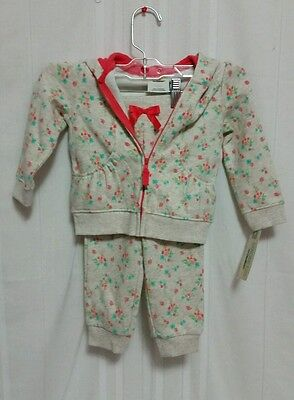 OshKosh Girl Baby Size 18M 2-Pc Outfit Fleece Pants Hoodie Floral NWT