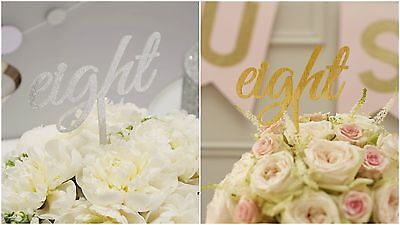 Gold Or Silver Calligraphy Script Table Numbers 1 to 12 - Wedding / Party