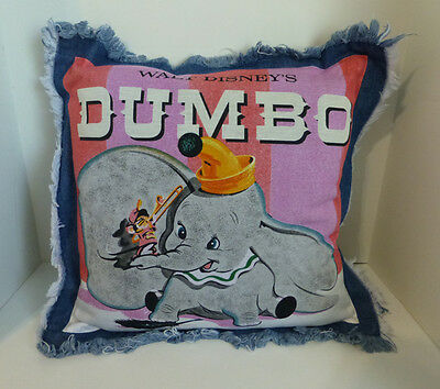 Disney Dumbo Timothy Soft Denim Like Fringe Trim Decorative Pillow