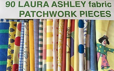 "90 LAURA ASHLEY FABRIC ASSORTED 4"" NURSERY  PATCHWORK SQUARES with iNSTRUCTIONS"