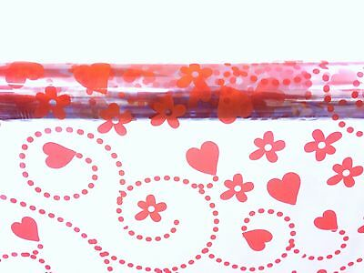 Valentines Cellophane Wrap Red Swirling Hearts + Flowers 1M - 100 Meters -
