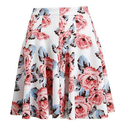 Inc White Floral Print Above Knee Stretch A-Line Skirt 14