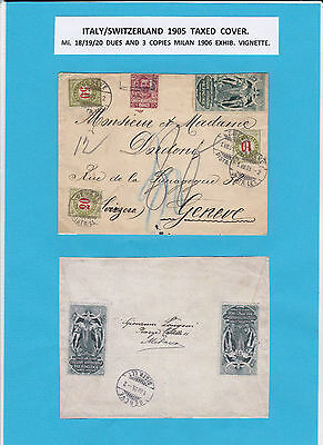 ITALY/SWITZERLAND 1905 TAXED COVER (Mi 18.19,20 DUES) 3 x MILAN EX. VIGNETTE