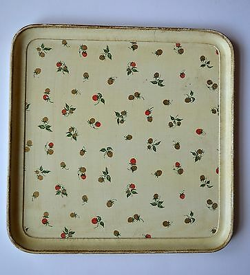 Vintage Wood Square Serving or Decorative Tray with Strawberry Motif