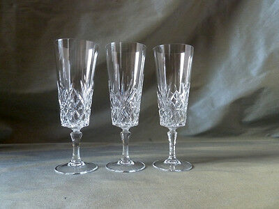 3 crystal champagne flutes glasses, not signed Bohemia, VGC