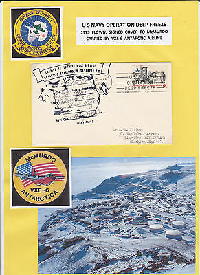 UNITED STATES 1973 DEEP FREEZE COVER TO McMURDO, FLOWN VXE-6 CACHET & SIGNED