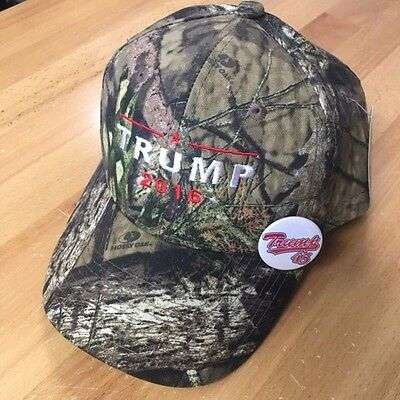 TRUMP 2016 45  Donald  Camo Baseball Cap Hat Mossy Oak  free pin/button TRUMP 45