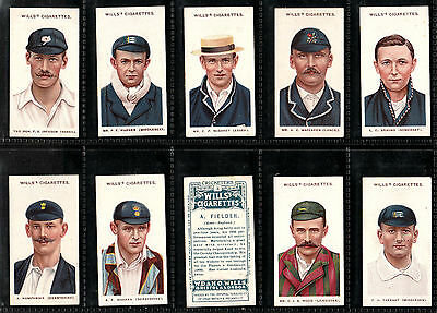 "Wills 1908 Interesting ( Cricket ) Full 50 Card Set "" Cricketers -- Small "" S """