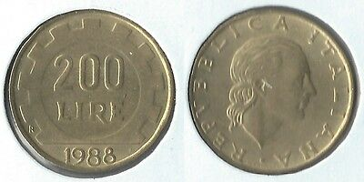 1988 Italy 200 lire coin