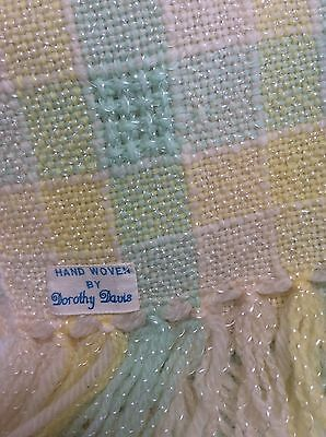 Vintage PASTEL HAND WOVEN Wool BABY BLANKET Unisex MADE BY Dorothy Davis FRINGED