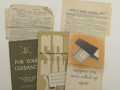 Set of Joining / discharge papers for British Army Circa early 1950's
