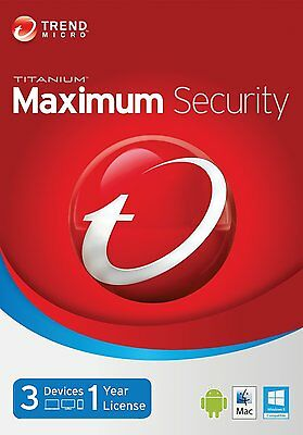 Trend Micro Maximum Security 11 (2017) | 1 Year Licence | 3 PC/Mac/Smartphone