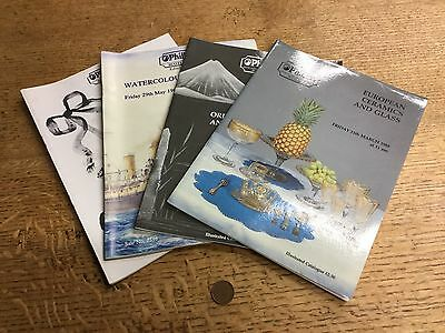 Collection Of 4 Old Phillips Antique Auction Catalogues