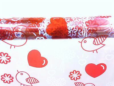 Heart Pattern Cellophane Wrap Hearts + Birds  1M - 100 Meters - Florist Qulaity