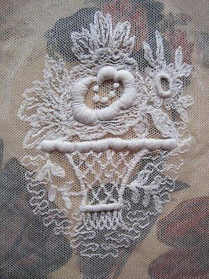 Vintage / Antique French Snow White Net Lace Embroidered Basket Dress Panel