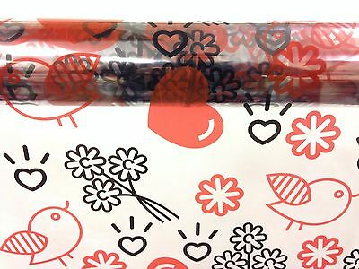 Heart Pattern Cellophane Wrap Red & Black Hearts + Birds  1M - 100 Meters -
