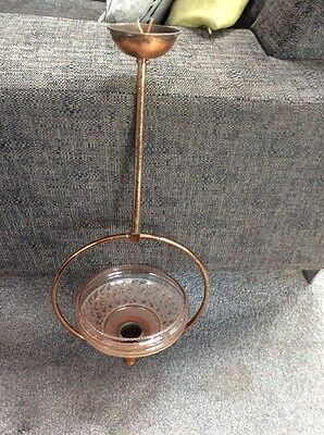 vintage,retro ceiling light fitting ,copper Look frame,pink shade