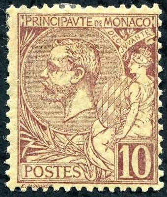 MONACO 1891-1921 Prince Albert Scott #15 10c Brown & Straw MLH CV $100.00
