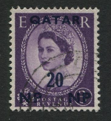 Qatar: 1957 QE2 20np surcharge on 3d stamp SG7 Used VV109