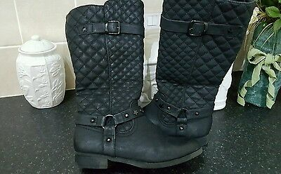 girls tall black boots size  kids 3 fleece lining