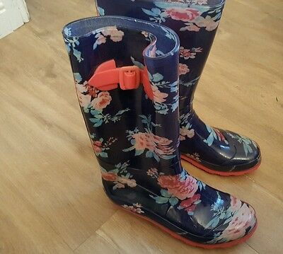 girls blue floral wellington boots size  junior 3