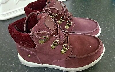 boys maroon suede leather ankle boots size infant 10 m& s