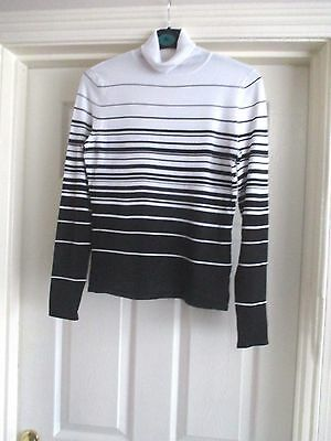 Principles Size 12 white/black striped polo top neck long sleeve thin jumper/top