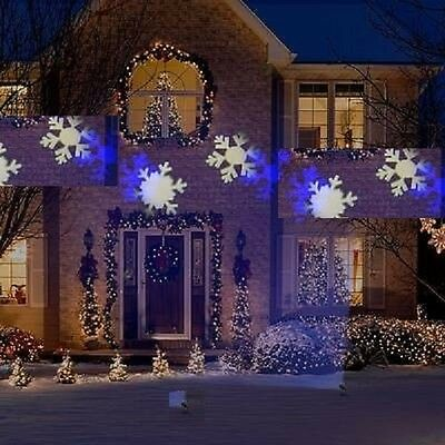 Gemmy Light Show LED Blue White Snowflake Flurry Projection Christmas Projector