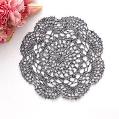 Crochet doily in Grey 20 - 22 cm for millinery , hair and crafts