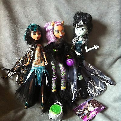 MONSTER HIGH. Lote 3 muñecas GHOULS RULE, CLEO DE NILE, FRANKIE STEIN Y CLAWDEEN