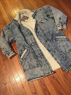 Vintage Denim Acid Wash Marble Lamb Wool Sherpa Barn Trench Jacket Size M