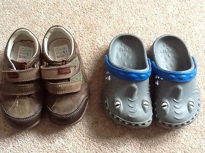 Children's Clarks Shoes Size 5 1/2 F And Next Crocs