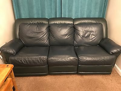 Navy Blue Recliner Leather Sofa And Armchair