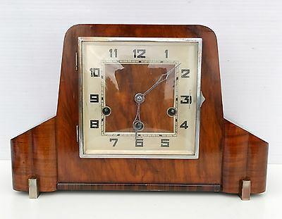 Art Deco German Figured Walnut Westminster Chiming Mantle Clock