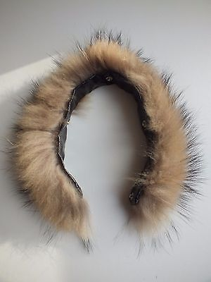 real  fur collar raccoon wrap trim strip  for hood jacket with buttons 46cm 18""