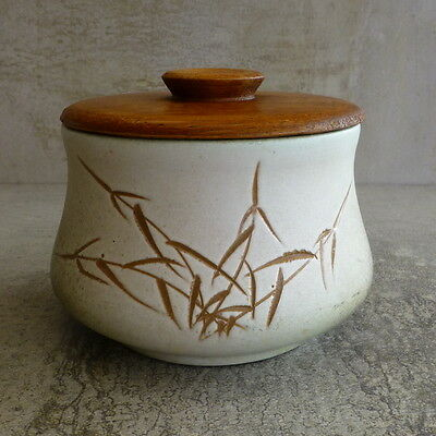 Vintage Ellis Pottery Sugar Bowl with Wooden Lid no.68 Made in Australia