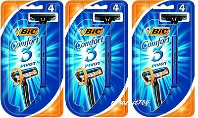 BIC Comfort 3 Pivot - Packs of 12 Disposable Razors - New And Sealed