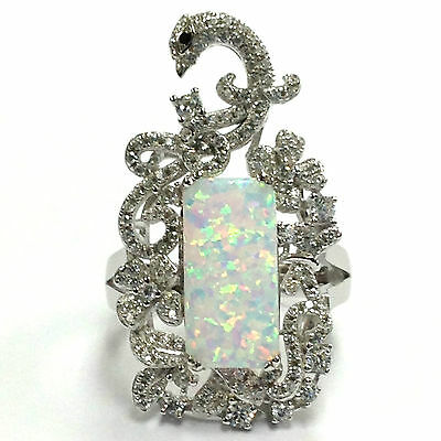 Art Nouveau Style Peacock White Fire Gilson Opal Ring 925 Solid Sterling Silver