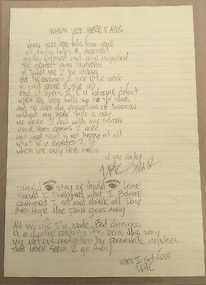 Tupac Shakur 2pac Hand Written Poem Signed Autograph 100% Authentic