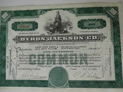 Byron Jackson Company - 100 Shares Stock Certificate - Issued 1936