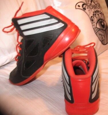 Adidas Black Red Sneakers Shoes Youth 4.5 Women's 6.5 6 1/2 *hipster* Great