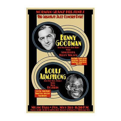 Benny Goodman / Louis Armstrong 1953 Cleveland Concert Poster