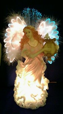"""15"""" Fiber Optic Lighted Angel with Harp & Doves Table Top Christmas Figurine"""