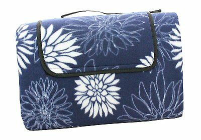 Extra Large Family Picnic Camping Leisure Fleece Waterproof Mat Rug Blanket Blue